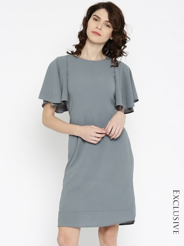 Miss Chase Women Grey Solid A-Line Dress at myntra
