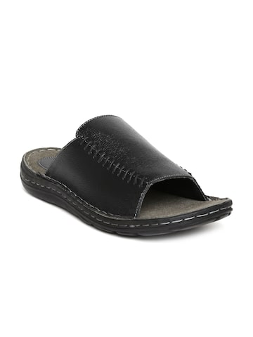 Red Tape Men Black Leather Textured Sandals at myntra