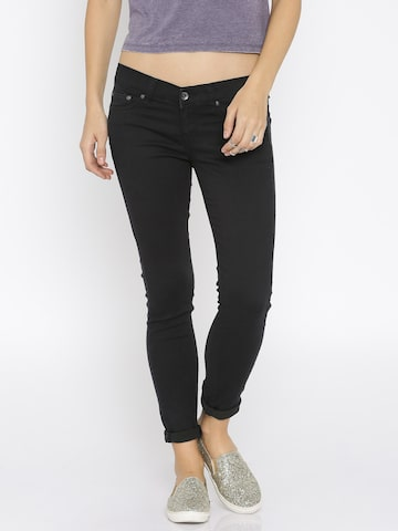Pepe Jeans Women Black Skinny Fit Low-Rise Clean Look Jeans at myntra