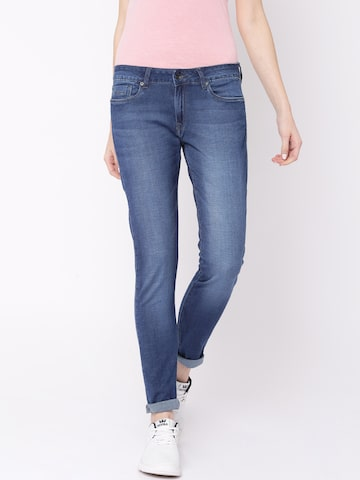 Pepe Jeans Women Blue Mid-Rise Clean Look Jeans at myntra