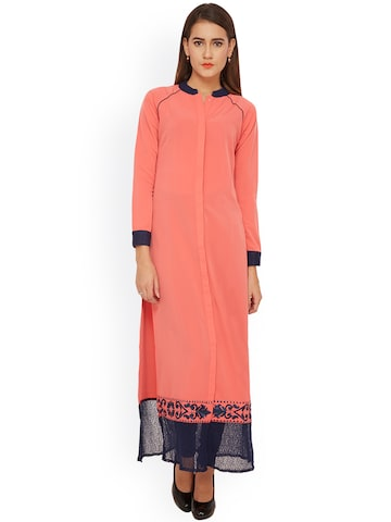 Soie Women Peach-Coloured A-Line Kurta at myntra