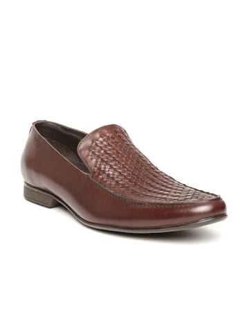 Lee Cooper Men Brown Basketweave Genuine Leather Semiformal Slip-Ons at myntra