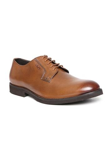 Lee Cooper Men Tan Brown Genuine Leather Formal Shoes at myntra
