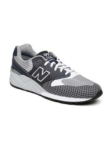 New Balance Men Grey Solid Sneakers at myntra
