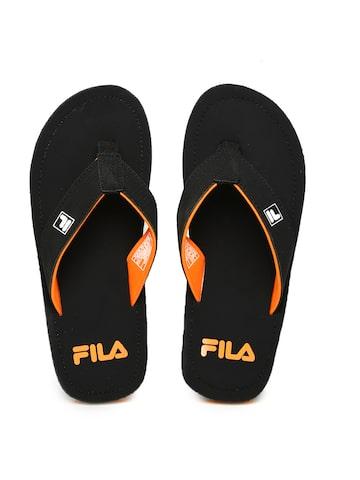 FILA Men Black & Orange Printed Flip-Flops at myntra
