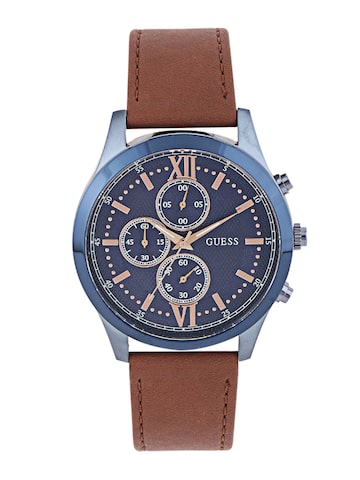 GUESS Men Navy Textured Chronograph Dial Watch W0876G3 at myntra