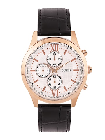 GUESS Men Off-White Chronograph Dial Watch W0876G2 at myntra