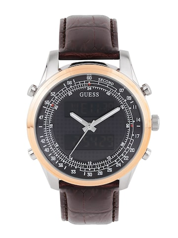 GUESS Men Grey & Black Printed Analogue & Digital Watch W0861G1 at myntra