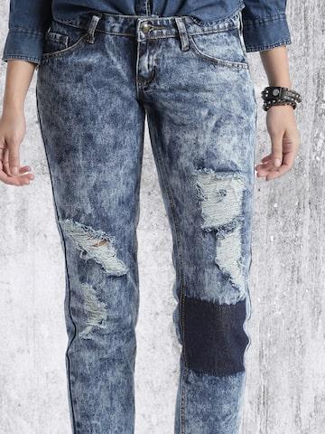RDSTR Women Blue Slim Fit Highly Distressed Acid-Washed Jeans at myntra