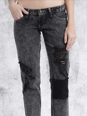 RDSTR Women Black Slim Fit Mid Rise Highly Distressed Jeans at myntra