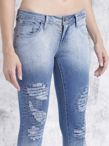 Roadster Women Blue Slim Fit Highly Distressed Jeans at myntra
