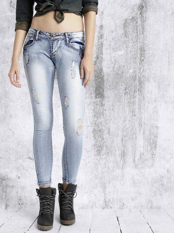RDSTR Women Blue Slim Fit Mid Rise Mildly Distressed Jeans at myntra