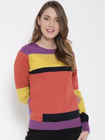 United Colors of Benetton Women Coral Orange Colourblocked Sweater at myntra