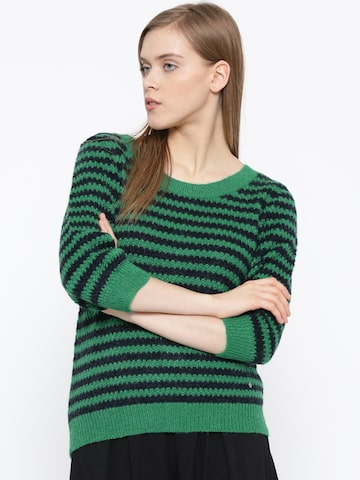 United Colors of Benetton Women Green Patterned Sweater at myntra