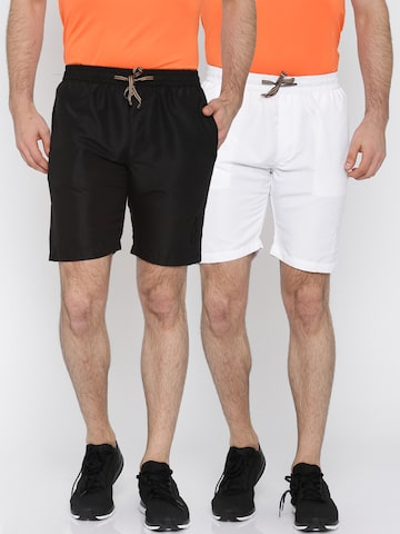 Sports52 wear Men White & Black Pack of 2 Solid Sports Shorts at myntra