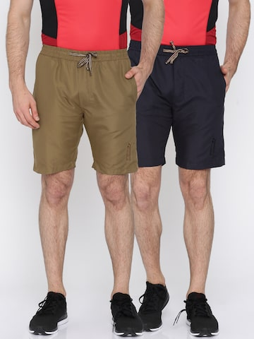 Sports52 wear Men Navy & Khaki Pack of 2 Solid Sports Shorts at myntra