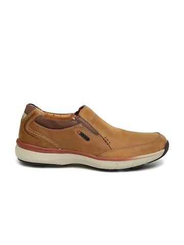 Clarks Men Tan Brown Solid Severon Step Nubuck Leather Slip-Ons at myntra