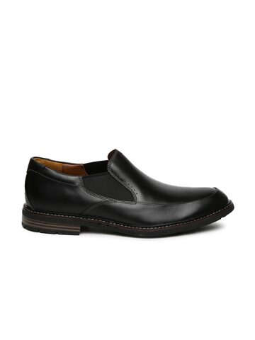 Clarks Men Black Round-Toed Formal Leather Slip-On at myntra