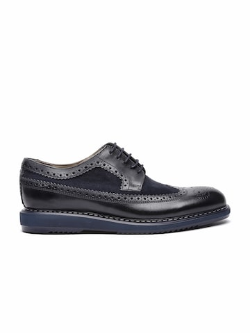 Clarks Men Black & Navy Limit Leather Brogues at myntra
