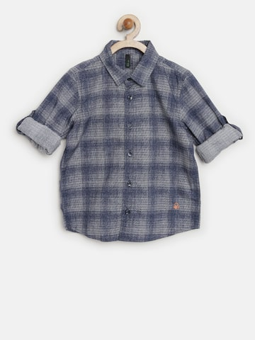 United Colors of Benetton Boys Blue Checked Shirt at myntra