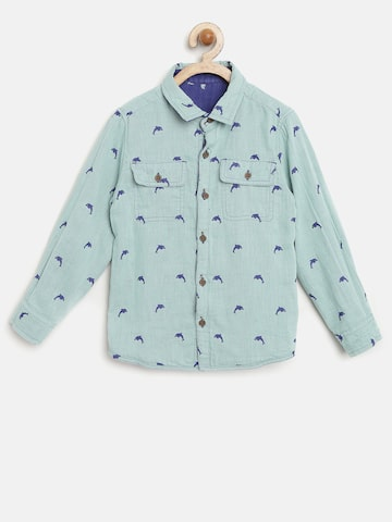 United Colors of Benetton Boys Green & Blue Printed Reversible Shirt at myntra