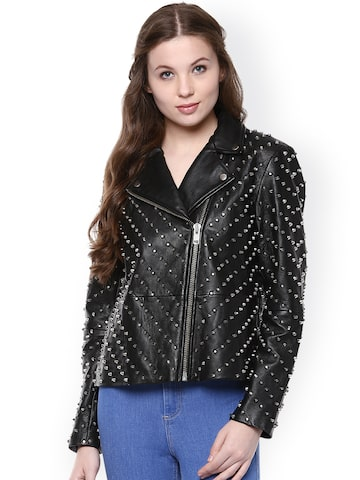 The Vanca Black Embellished Leather Jacket at myntra