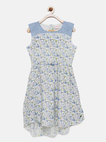 FS Mini Klub Girls White & Blue Printed Fit & Flare Dress at myntra