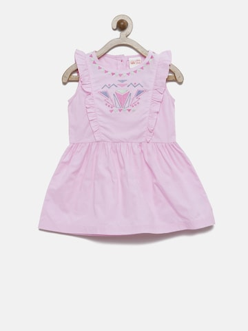 FS Mini Klub Girls Pink A-Line Dress with Embroidered Detail at myntra