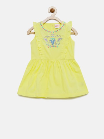 FS Mini Klub Girls Yellow A-Line Dress with Embroidered Detail at myntra
