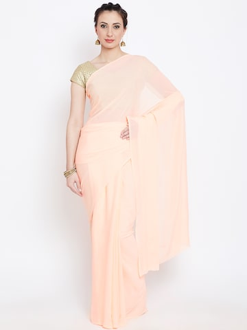 Jashn Peach-Coloured Self-Striped Saree at myntra