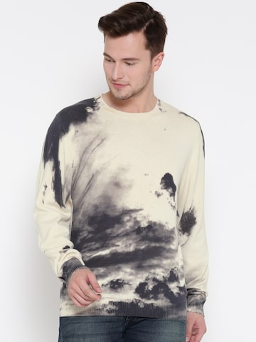 Ed Hardy Men Cream-Coloured & Grey Printed Sweater Ed Hardy Sweaters at myntra