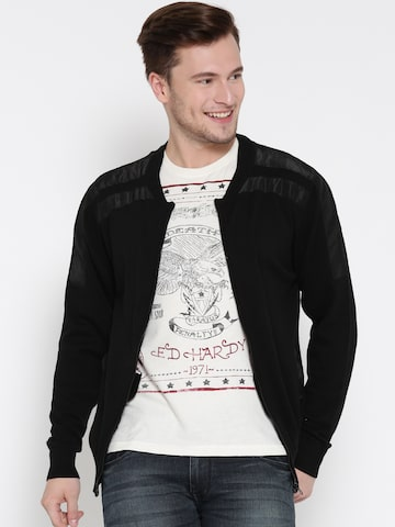 Ed Hardy Men Black Solid Cardigan Ed Hardy Sweaters at myntra