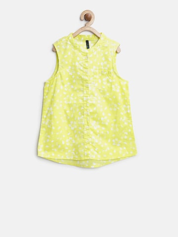United Colors of Benetton Girls Lime Green Printed Shirt Style Top at myntra