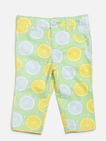 United Colors of Benetton Girls Mint Green & Yellow Printed Trousers at myntra