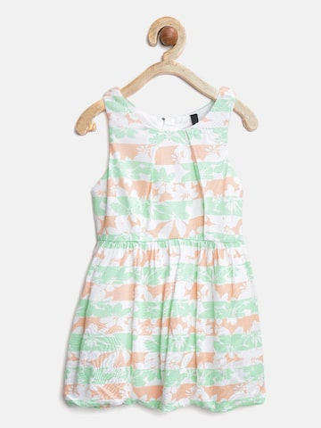 United Colors of Benetton Girls Green & Peach-Coloured Printed Fit & Flare Dress at myntra