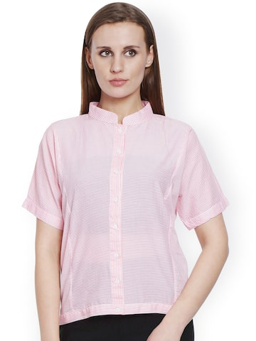 Bombay High Women Pink & White Striped Shirt Style Top at myntra