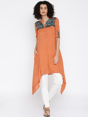 Global Desi Orange Printed Tunic at myntra
