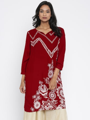 Global Desi Red Printed Tunic at myntra