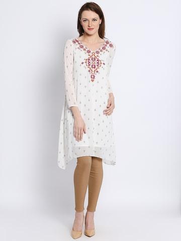 Global Desi White Printed Tunic at myntra