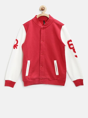 United Colors of Benetton Boys Red & White Colourblocked Sweatshirt at myntra