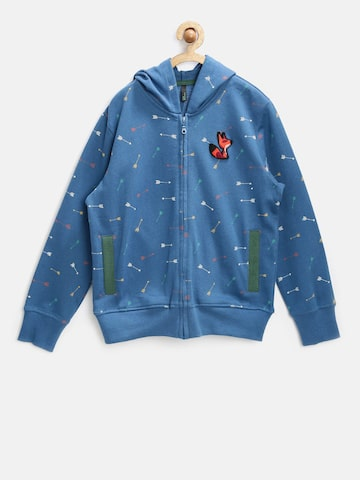 United Colors of Benetton Boys Blue Printed Hooded Sweatshirt at myntra