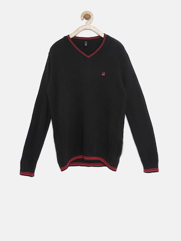 United Colors of Benetton Boys Black Sweater at myntra