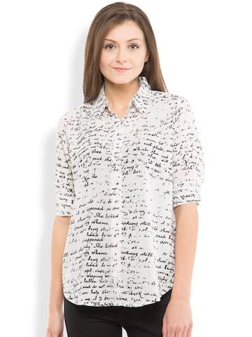 Tokyo Talkies Women White Slim Fit Printed Casual Shirt at myntra