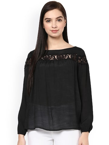 Raindrops Women Black Solid Top at myntra