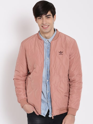 Adidas Originals Dusty Pink Quilted Bomber Jacket at myntra