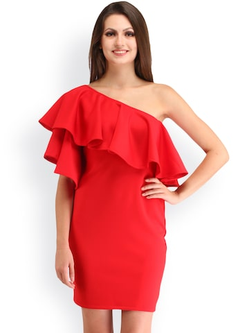 Cation Women Red One-Shoulder Sheath Dress at myntra