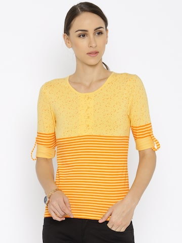 Park Avenue Women Yellow & Orange Striped Printed Round Neck T-Shirt at myntra