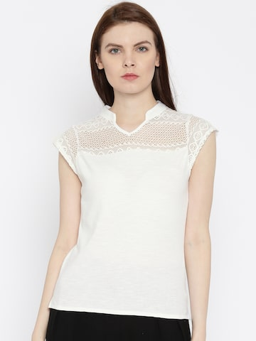 Park Avenue Women White Solid Mandarin Collar T-shirt at myntra