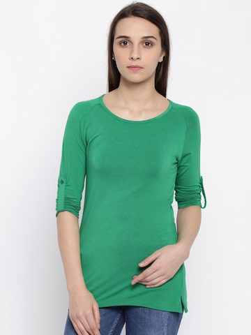 Park Avenue Women Green Solid T-shirt at myntra