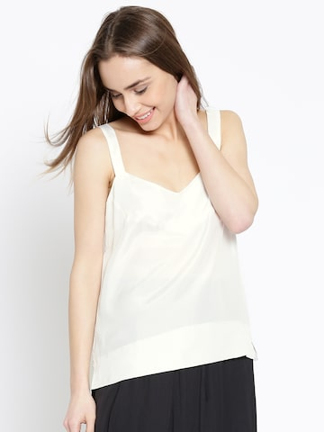 MANGO Women White Silk Solid Top at myntra
